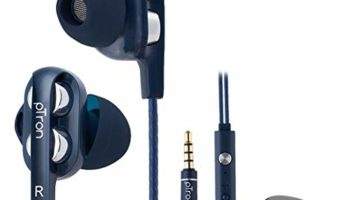 pTron Boom Ultima 4D Dual Driver in-Ear Wired Headphones with Mic - (Dark Blue)