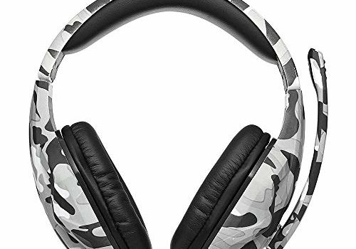 Festnight KUBITE 3.5mm Over-Ear Wired Gaming Headphones Music Headset Noise Cancellation Earphones with Microphone Mic Mute Volune Control for PS4 Smartphones Laptop Tablet PC