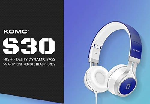 KOMC S30 On-Ear Portable HiFi Stereo Headphones/Headset with Closed Acoustic Design & Special Silica Gel Sturdy Material for Perfect Sound Details, Blue