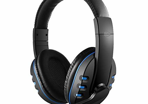 Docooler 3.5Mm Wired Gaming Headphones Over Ear Game Headset Noise Canceling Earphone with Microphone for Pc Laptop Ps4 Smart Phone One Size Black & Blue
