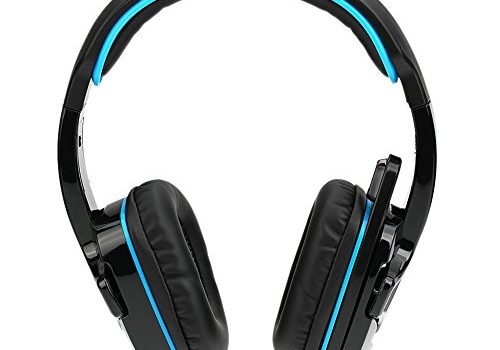 Festnight SA-708GT 3.5mm Gaming Headphone with Mic Noise Cancellation Music Stereo Headset Black-Blue Upgraded Version of SA-708 for PS4 Tablet PC Mobile Phones