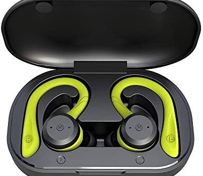 APEKX Bluetooth Headphones True Wireless Earbuds with Charging Case IPX7 Waterproof TWS Stereo Sound Earphones Built-in Mic in-Ear Headsets Deep Bass for Sport Running Green