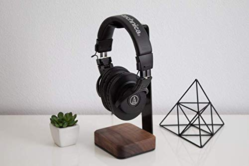 Furniture Hub Headphone Stand for PC Gaming Headset, Wood &Iron Headset Stand Holder for Desktop Organizer