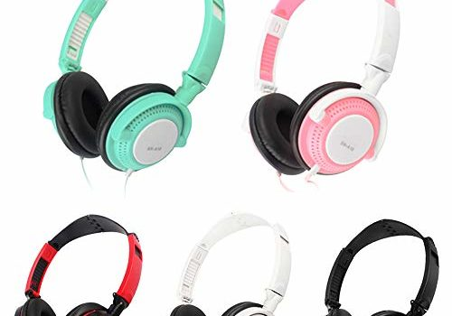 Anself 3.5mm Wired Gaming Headset Over-Ear Headphones Sports Music Earphones with Microphone in-line Control for Smartphones Tablet Laptop Desktop PC