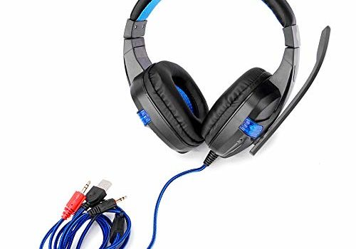 Honelife SY860MV Gaming Headset 3.5mm Wired Over Ear Headphones Noise Canceling Earphone with Mic LED Light Volume Control AUX+USB for Desktop PC