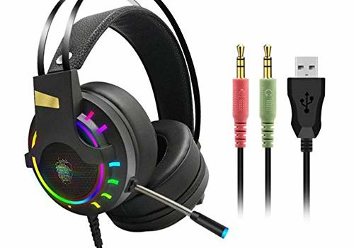 Generies Gaming Headset Headphones with Microphone for PC Computer for Professional Gamer Surround Sound Light