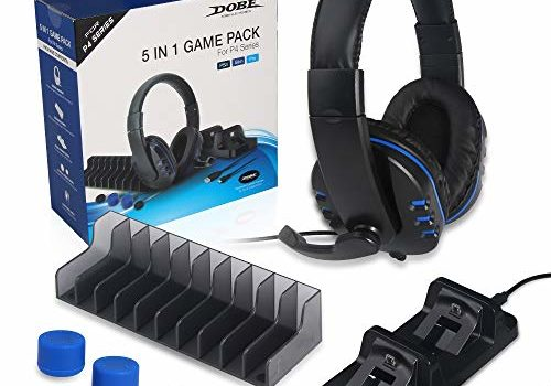 DOBE 5 in 1 Game Pack, Dual Charger Station Dock, Headset with Mic, Disc Stroage Stand, Charging Cable and Thumbstick Cover Grips for Playstation 4 PS4, PS4 Pro, PS4 Slim