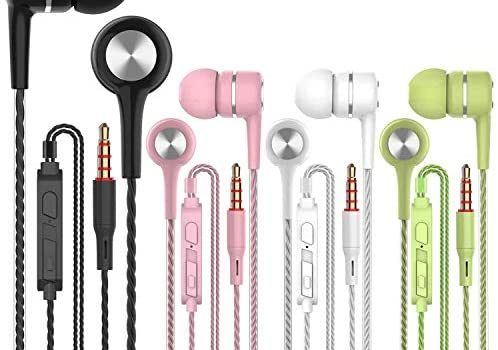 A12 4 Pack in-Ear Earphones earplugs with Microphone Volume Control,Noise Islating, High Definition, Fits All 3.5mm InterfaceStereo for Samsung, iPhone,iPad, iPod and Mp3 Players(4pairs)