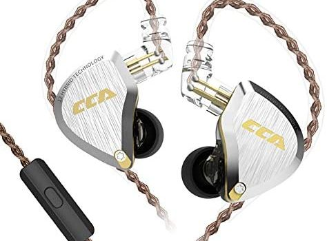 CCA C12 in-Ear Monitors, 5BA+1DD Hybrid HiFi Stereo Noise Isolating IEM Wired Earphones/Earbuds/Headphones with Detachable Tangle-Free Cable 2Pin for Musician Audiophile (with MIC, Amber Gold)