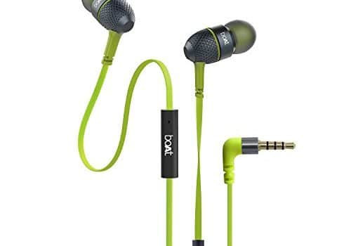 boAt BassHeads 225 in-Ear Wired Earphones with Super Extra Bass, Metallic Finish, Tangle-Free Cable and Gold Plated Angled Jack (Neon Lime)