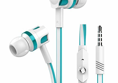 pTron HBE5 Raptor (High Bass Earphones) in-Ear Stereo Wired Headphones with Mic - (White and Blue)