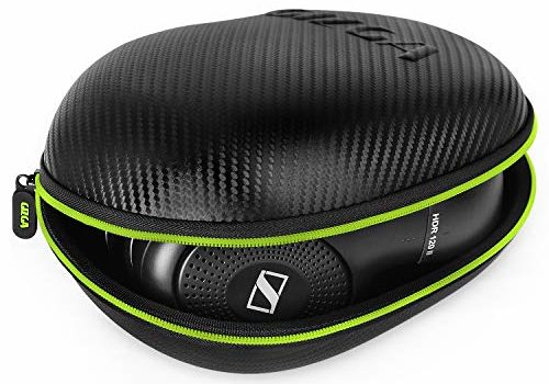 Gizga Essentials G33 Headphone Case Hard Carbon Fibre Cover for Large & Over Sized Bluetooth Headphone (Green Zip)