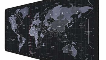 RiaTech Extra Large World Map with Standard Time Zone Print Extended Gaming Mouse Pad with Stitched Embroidery Edges, Non-Slip Rubber Base Waterproof Keyboard Pad(900mm x 400mm x 3mm, Black)