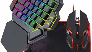 TechGuy4u RGB One Hand Mechanical Gaming Keyboard and Backlit Mouse Combo,BlueFinger USB Wired Rainbow Letters Glow Single Hand Mechanical Keyboard with Wrist Rest Support, Gaming Keyboard Set for Game
