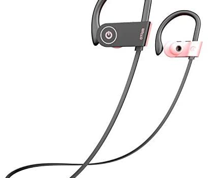 Pink Headphones, Otium Best Bluetooth Headphones Wireless Earbuds for Women Girls, Stereo Bass in-Ear IPX7 Waterproof Running Sports Earphones