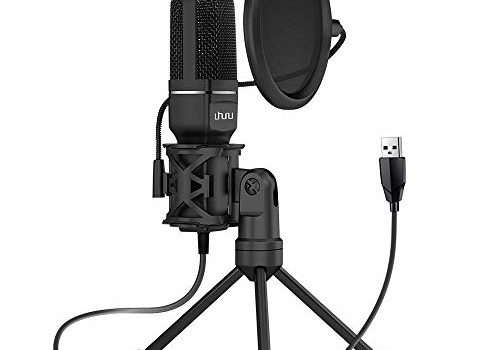 Uhuru UM-SF777 USB Condenser Gaming Microphone, Computer Mic Kit for Recording Podcasting with Tripod Stand and Pop Filter (Black)