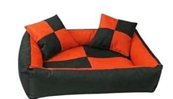 Gorgeous Quilted Reversible Ultra Soft Dual Sofa-Style Dog Bed with 2 Pillow (Orange Black, Small)