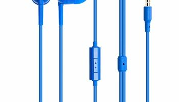 MINISO Colorful Music Earphone in-Ear Headphones with Microphone, Comfortable Earbuds Cute Earphones for Mobile Smartphones Apple Xiaomi Realme Oppo Samsung,Blue