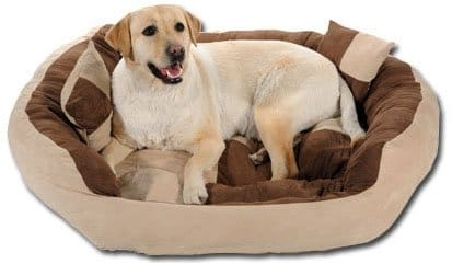 SLATTERS BE ROYAL STORE Reusable Ultra Soft Velvet Round Sofa for Dog Cat (Brown and Cream, XXL)