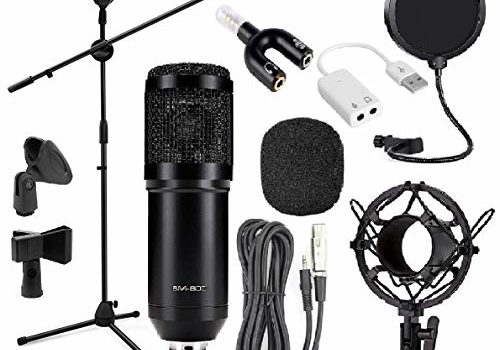 3D Cloud BM800 Condenser Studio Microphone for Singing with Adjustable GH-201 Mic Stand Pop Filter and 3.5MM Audio Splitter & Sound Card for Broadcasting Live Streaming Podcast Recording Stage Performance (Black)