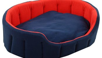 PETSHUB Elite Soft Fleece Reversible Dog and Cat Bed (Red and Blue, Medium)