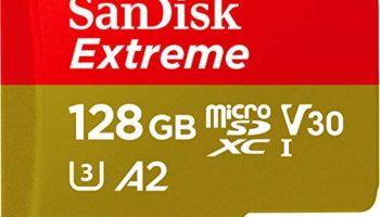 SanDisk 128GB Extreme microSDXC, U3, C10, V30, UHS 1, 160MB/s R, 90MB/s W, A2 Card for 4K Video Rec on Smartphones, Action Cams & Drones, SDSQXA1