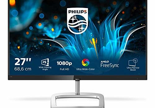 """PHILIPS 276E9QJAB/94 27"""" IPS Panel Smart Image LED Monitor, 3W x 2 Speaker, HDMI & VGA Connectivity, FHD, 5 ms Response time, 60 Hz Refresh Rate, Energy Star 7.0, TCO Certified, VESA Mount,"""