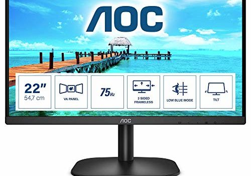 "AOC 22B2H Black Modern and Sleek 21.5"" 3-Sides Borderless Monitor with Full HD and Eye-Caring LowBlue and FlickerFree Technology"