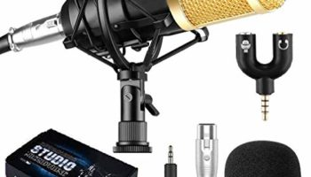 Techtest BM800 Condenser Microphone Kit, Professional Cardioid Studio Condenser Mic Include Shock Mount, Professional Studio Recording & Broadcasting
