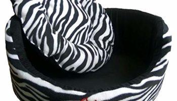 Skora Imported Export Quality Round Shape Pet Bed for Color Zebra Line Printed Black and White Dog Size Medium