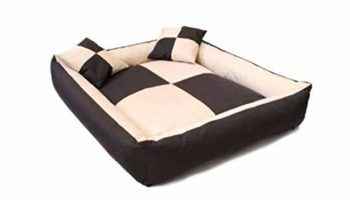 Gorgeous Reversable Brown,Cream Square Shape 2 Small Pillow Extra Ultra Soft Ethnic Designer Bed for Dog/Cat (Export Quality) Size : Large