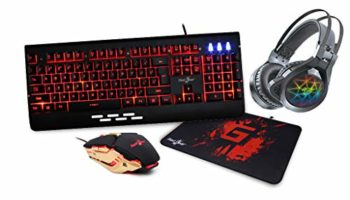 Redgear MT41 Manta 4. in 1 Gaming Combo with Keyboard, Mouse, Headphones and Speed Edition Mousepad.