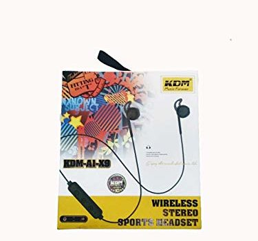 KDM A1 X9 Bluetooth/Wireless Earphone with Dynamic bass, Splash and Sweat Proof, 12 Hours Battery Backup (Black)