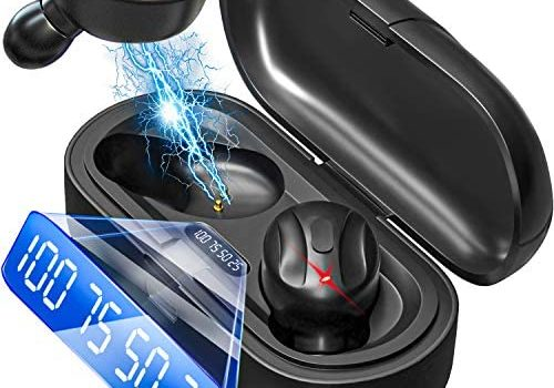 Wireless Earbuds Bluetooth 5.0 Mini Headphones, Hi-Fi Stereo in-Ear Earphones with 350Mah Charging Case, Touch Control, IPX5 Waterproof Headset with LED Display Built-in Mic for Sports, Workout, Gym
