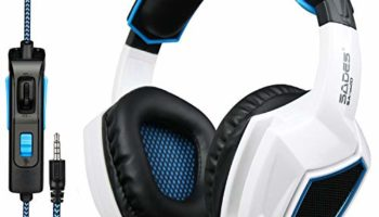GW SADES SA902 7.1 Channel Virtual USB Surround Stereo Wired PC Gaming Headset Over-Ear Headband Headphones with Microphone Revolution Volume Control Noise Canceling LED Light(White)