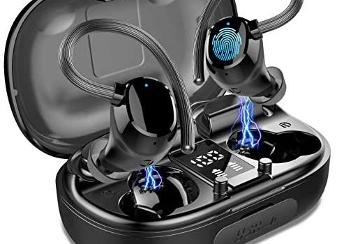 Wireless Earbuds Sports, in-Ear Bluetooth Headphones IP7 Waterproof 100H Playtime TWS Earhooks Headset Stereo CVC8.0 Noise Cancelling Wireless Earphone with Charging Case for Workout Running Gym