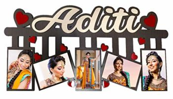 F Studio Personalized Gift Wooden Photo Frame Customised with Your Name & Photos (24 x 12 inch)