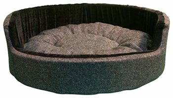 Hiputee Luxurious Round Velvet Dual Colour Bed for Cats and Dogs (XL, Dark Grey-Black)