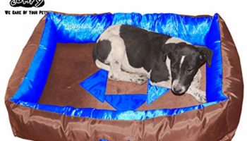 Pet Heavy Duty Polyfiber Reversible Waterproof Dogs and Cats Bed XL Brown Blue