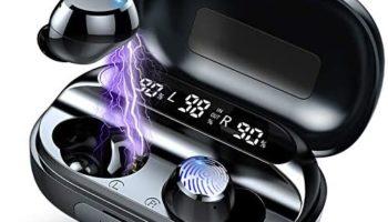 Wireless Earbuds Bluetooth Headphones with Charging Case Digital Intelligence LED Display IP7 Waterproof True Wireless Earphones in-Ear Buds 130H Deep Bass Built-in Mic for Sport Workout