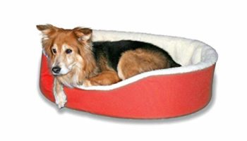 KOZI PET Foam Filled Fabric Round Shape Reversible Dual Soft Bed for Dogs and Cats Export Quality (Red)-Large