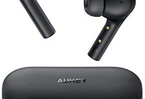 AUKEY True Wireless Earbuds, Bluetooth 5 Headphones with USB C Quick Charge, 10 mm Drivers, 30-Hours Playtime, IPX6 Water-Resistant, Noise Cancelling Mics Earphones for iPhone and Android, Black