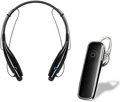ROCK LYFE Combo of Wireless Neckband Bluetooth Earphone with P20BT Earphone, Super Sound Deep Bass with Mic, Noise Cancellation Headset for Apple Devices and All Smartphone