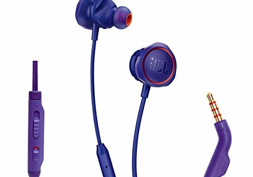 JBL Quantum 50 Wired in-Ear Gaming Headphone with Twistlock Technology, Inline Voice Focus Microphone and Master Volume Slider (Purple)