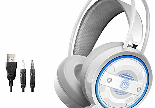G60 Stereo Gaming Headset Surround Bass Gaming Earphone Over-Ear Game Headphone 2 * 3.5mm+USB Plug Volume Control with Mic LED Light for Computer PC Gamer