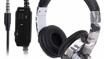 Gaming Headphone, Head-Mounted Phone Computer Gaming Headset, Wide compatibility Gaming Headset with Noise Canceling Mic for PS4 White Camouflage for PS4, for X-ONE, for PC