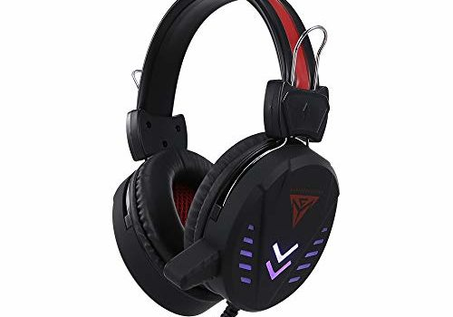 Decdeal A1 Wired Gaming Headset 3.5mm USB Wired Headphone with Seven-Color Circulation Breathing Light Noise Reduction Mic for PC