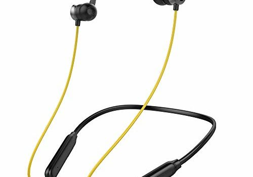 Ambrane Bluetooth Wireless Earphones with High Bass Stereo Sound, 10 Hours Playtime, Water Splash Proof, inbuilt Mic (ANB-33, Black & Yellow)