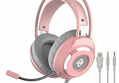 AX120 USB Wired Headset 3.5mm Stereo Gaming Headset Noise Cancelling Headphone with Mic 50mm Driver Unit Pink