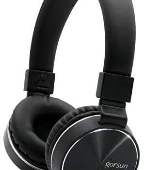 TENLUBEN Gorsun Stereo Lightweight Foldable Corded Headphones Adjustable Headband Headsets with Mic 3.5mm Volume Control for Cellphones Smartphones iPhone Laptop PC Mp3/4 Earphones (Black)